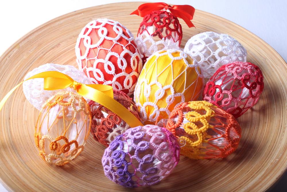 Frivolitková krajka - návod na velikonoční vajíčko 70