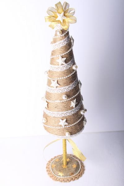 Vánoční jutové dekorace - návod na stromeček - 23