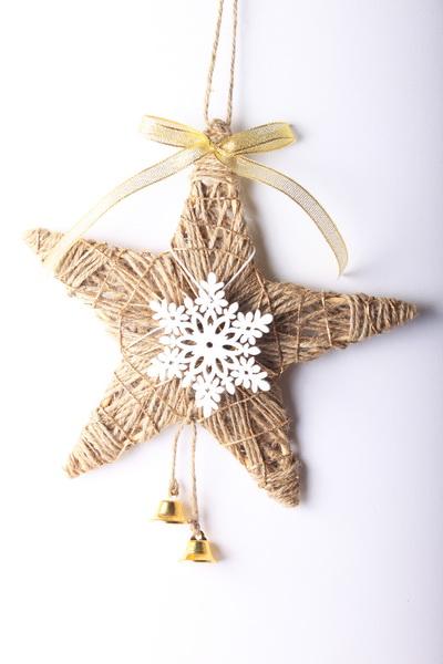 Jutové vánoční dekorace - návod na hvězdu - 9