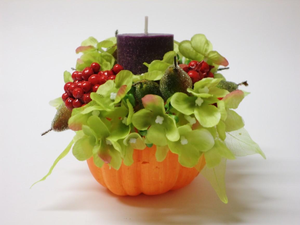Návod na podzimní svícen s motivem dýně